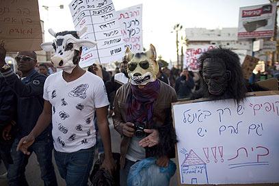 מחאת עולי אתיופיה בקריית מלאכי  (צילום: AFP) (צילום: AFP)
