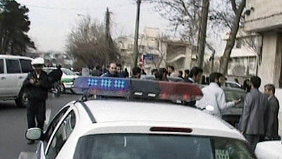 זירת הפיצוץ בטהרן, הבוקר (צילום: AFP/HO/AL-ALAM TV) (צילום: AFP/HO/AL-ALAM TV)