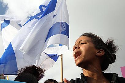 גיבוי ממובילי המחאה החברתית, היום בירושלים (צילום: גיל יוחנן) (צילום: גיל יוחנן)