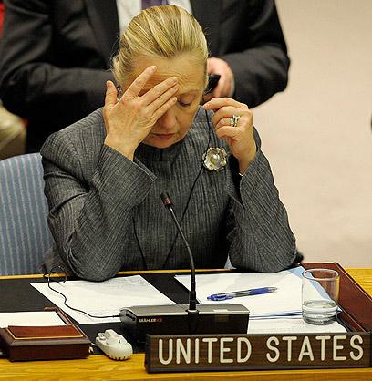 """עוזבת את תפקידה בינואר. קלינטון במועצת הביטחון של האו""""ם (צילום: EPA) (צילום: EPA)"""
