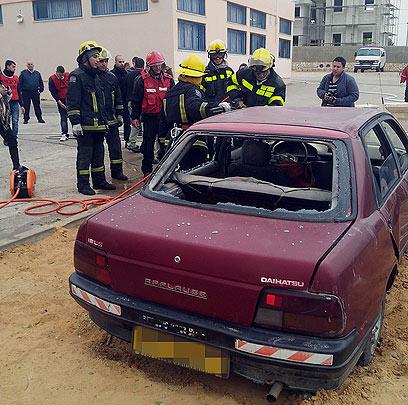 תרגיל החירום בבית הספר (צילום: חסן שעלאן) (צילום: חסן שעלאן)