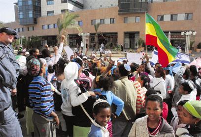 הפגנת עולי אתיופיה בבאר שבע - מאסו במצב הקיים (צילום: הרצל יוסף)