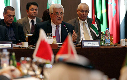 Abbas addresses Arab League (Photo: Reuters)