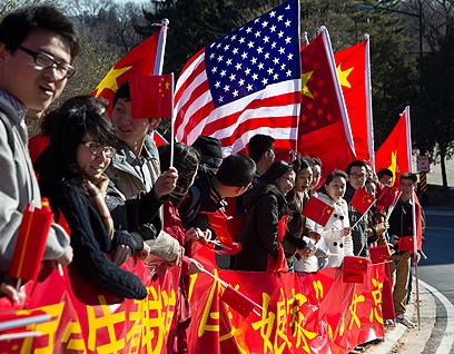 הייתה גם קבלת פנים חמה לסגן הנשיא הסיני. וושינגטון (צילום: AP) (צילום: AP)