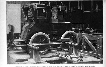 ניסו את זה קודם: תחנת החלפת סוללה במונית חשמלית במאה ה-19 (צילום: מתוך The Horseless Age, ספטמבר 1898) (צילום: מתוך The Horseless Age, ספטמבר 1898)