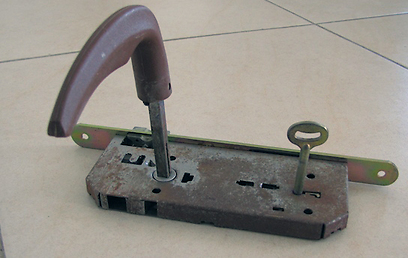 מנגנון דלת פנימית, חלוד ולא בסביבתו הטבעית  (צילום: עידו גנדל) (צילום: עידו גנדל)