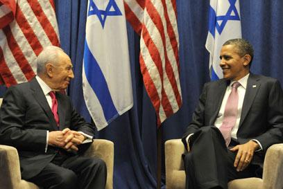 Peres with US President Barack Obama (Photo: Moshe Milner, GPO)