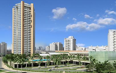 המתחם המסחרי פינה מקום למגדל ופארק. הדמיה של המגדל בפארק בגבעתיים (צילום: קבוצת נוה שוסטר)