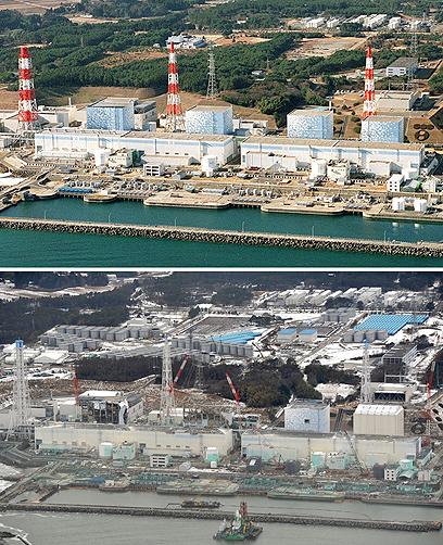 המפעל הגרעיני בפוקושימה, לפני שנה והיום (צילום: AP Photo/Kyodo News) (צילום: AP Photo/Kyodo News)