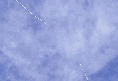 """יירוט רקטה על ידי מערכת """"כיפת ברזל"""" (צילום: אבי מנור) (צילום: אבי מנור)"""