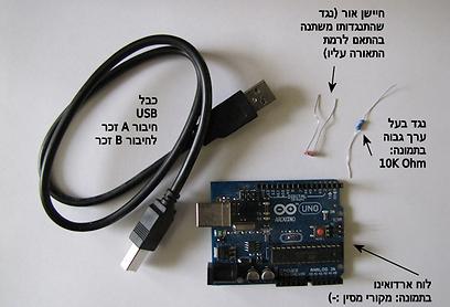 רכיבי החומרה הדרושים לפרויקט - לא כולל המחשב  (צילום: עידו גנדל) (צילום: עידו גנדל)