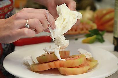 גבינת מוצרלה טרייה יחד עם עגבנייה (צילום: אסף רונן ) (צילום: אסף רונן )