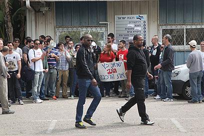 הפגנת ועד עובדי הרכבת (צילום: מוטי קמחי)