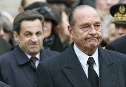 """""""כבר כמה שנים שיש בצרפת דחף לשינוי השלטון"""". שיראק וסרקוזי (צילום: רויטרס) (צילום: רויטרס)"""