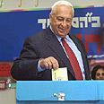 """שרון, יו""""ר הליכוד ומועמדו לראשות הממשלה, מצביע בבחירות, 2001"""