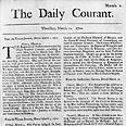"""כותרת העיתון """"דיילי קורנט"""" העיתון היומי הראשון באנגליה (1702)"""