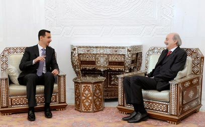Walid Jumblatt with Syrian President Assad (Photo: AP)