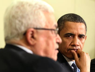 אבו מאזן לצד אובמה. וושינגטון תצביע נגד (צילום: רויטרס) (צילום: רויטרס)