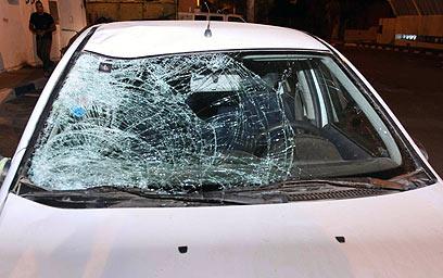מכוניתו של טל מור, לאחר התאונה הקטלנית (צילום : עידו ארז) (צילום : עידו ארז)