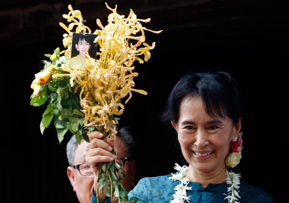 אונג סן סו צ'י, המועמדת המובילה וחתנית פרס נובל (צילום: רויטרס) (צילום: רויטרס)