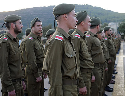 Basic training enlistees for non-combat units (Photo: Avihu Shapira)