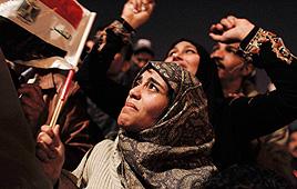 מפגינים בכיכר א-תחריר (צילום: AP)