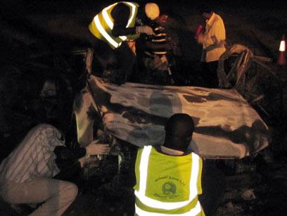 כלי הרכב שישראל הפציצה לכאורה בסודן לפני שנה (צילום: מתוך הטלוויזיה הסודנית) (צילום: מתוך הטלוויזיה הסודנית)