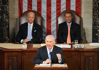 If we accept Netanyahu's equation, the things he will say in front of a half empty chamber will have a supernatural effect, which will allegedly justify any cost (Archive photo: AFP)