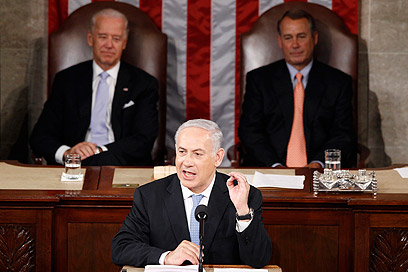 Netanyahu addresses the US Congress in 2011. 'With the billionaires' help, he will be greeted in Washington with a red carpet, and the confused voters in Israel will think: There, it's all rubbish, there is no anger in the administration' (Photo: Reuters)