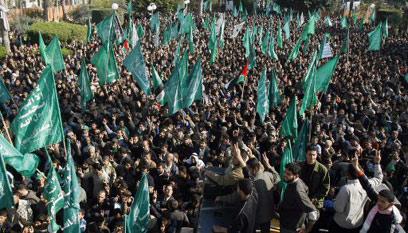 תומכי חמאס בעזה. תמיכה מאיראן למרות הפער העדתי (צילום: AFP) (צילום: AFP)