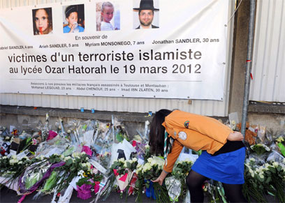 Memorial for victims of Toulouse Jewish school shooting (Photo: AFP)