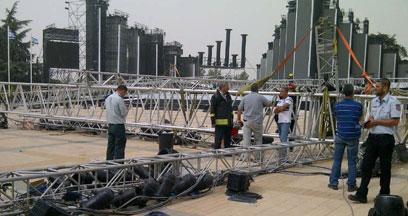 """האזור שבו קרסה הבמה (צילום: סוכנות הידיעות """"חדשות 24"""") (צילום: סוכנות הידיעות"""
