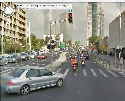 """רחוב קפלן בת""""א. אי אפשר להיכנס, ולא בגלל הפקק (צילום: google maps)"""