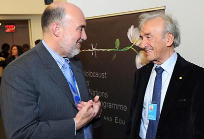 """אלי ויזל עם השגריר פרושאור השבוע באו""""ם ()"""