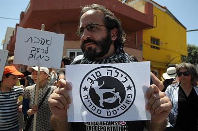 ההפגנה בשכונת שפירא, אתמול (צילום: ירון ברנר)