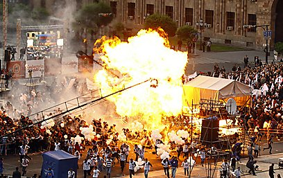 רגע הפיצוץ בעצרת (צילום: AFP)