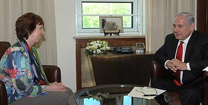Ashton and Netanyahu (Photo: Amos Ben-Gershom, GPO)