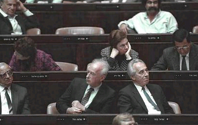 Shimon Peres (R), with Yitzhak Rabin (Photo: Nathan Alpert, GPO)