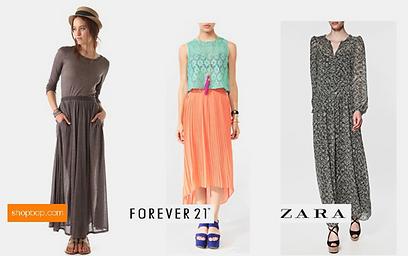 שמלת מקסי (זארה), חצאית מידי (Forever21) ועוד מקסי אחת (shopbop) ()