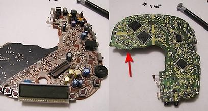 החלק העליון והתחתון של המעגל המודפס  (צילום: עידו גנדל) (צילום: עידו גנדל)