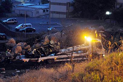 אזור התאונה, הבוקר סמוך לטבריה (צילום: אביהו שפירא)