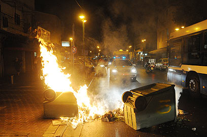 """ההפגנה בתל אביב ביום רביעי. """"פחד בשכונה"""" (צילום: ירון ברנר)"""