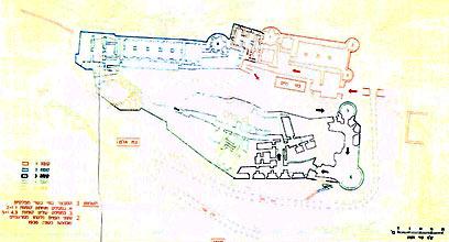 """תרשים המבצר במבט על לפי חיתוכי קומות (צילום: ארכיון צה""""ל ומערכת הביטחון) (צילום: ארכיון צה"""