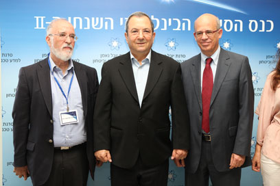 Barak (center) at cyberspace conference in Tel Aviv