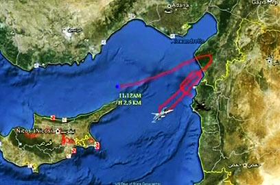 הדמיה של האזור שבו טס המטוס (צילום: EPA) (צילום: EPA)