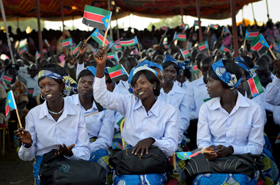 נשים באיצטדיון בג'ובה (צילום: AP) (צילום: AP)