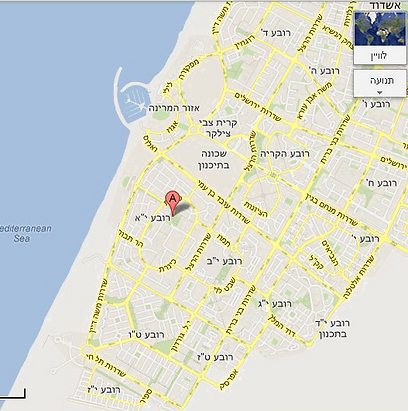 """מפת שכונת רובע י""""א באשדוד (צילום: Google Maps) (צילום: Google Maps)"""