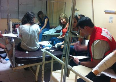 פצועים ישראלים בבית החולים בבורגס (צילום: כרמית ראובן) (צילום: כרמית ראובן)