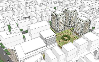 הדמיה של פרויקט שוק העלייה (הדמיה: משרד אדריכלות  ישר אדריכלים) (הדמיה: משרד אדריכלות  ישר אדריכלים)