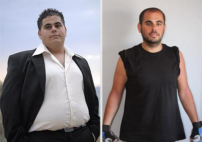 """""""תמיד הייתי שמן"""". מועלם לפני הדיאטה (שמאל) ואחריה (צילום: מיטל ולנסי) (צילום: מיטל ולנסי)"""